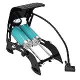 Navaris Bomba de Aire para Bicicleta Coche y Moto - Inflador de pie para Ruedas - con manómetro Doble Cilindro y Set de adaptadores