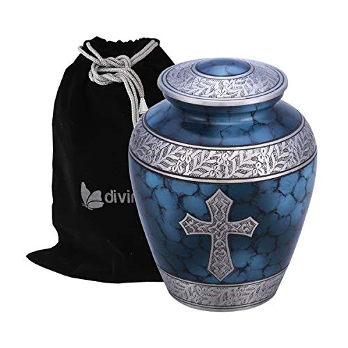 Divinityurns Elite Cross Cloud Cremation Urn - Large Adult Urn - Urn for Ashes - Handcrafted Affordable Urn for Human Ashes with Velvet Bag (Blue Cross)