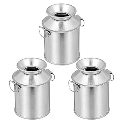 EXCEART 3pcs Metal Buckets Mini Tinplate Bucket Pails Jug Iron Milk Can for Party Favors Candy Votive Candle Trinkets Small Plants Flower Arrangement Bucket