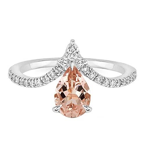 Shine Jewel Juego de Tres Puntas 8X5 MM Anillo de Plata 925 con Piedras Preciosas de morganita de Pera desplegable (13)