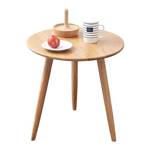 FYONG Solid Wood Side Table Eiken Ronde Eettafel Computer Bureau 50×50CM