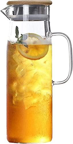 aipipl Jarra de Agua de 1.2 L, 1L / Litro con Tapa de Acero Inoxidable Jarra de Vidrio Jarra de Agua sin Bpa con Inserto de Fruta Jarra de Vidrio Apta para lavavajillas Taza de té, 1200 ml