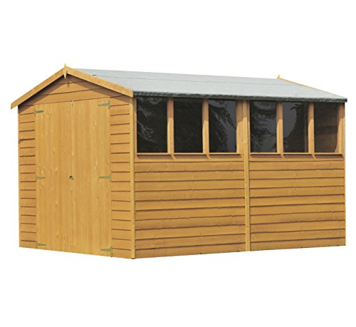 Shire Overlap Double Door Shed, Brown, 299x179x201 cm