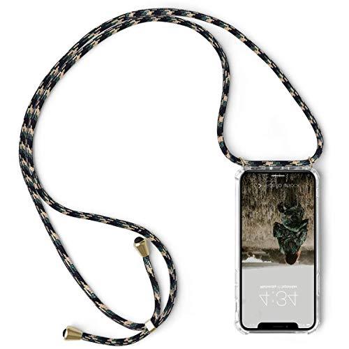 Suhctup hoes compatibel met Redmi Note 8 Pro/Note 8 telefoonhoes ketting koord hals omhangband transparant telefoonhoes met halsketting slim dun krasbestendig [stootvast] De valbescherming silicone shell, Groene rijst zwart