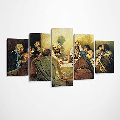 Cuadro en Lienzo Impresión de 5 Piezas Material Tejido no Tejido Última Cena Jesucristo Impresión Artística Imagen Gráfica Decoracion Listo para Colgar 150 * 80Cm con Marco