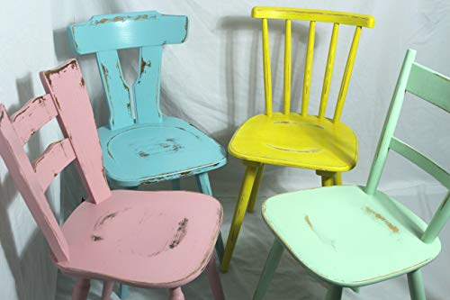 4x Shabby Stuhl alter Holzstuhl/Stuhl/Bauernstuhl/Küchenstuhl/Esszimmerstuhl knall-bunt 60er Jahre Landhaus Vintage Shabby Chic Möbel 4er Set