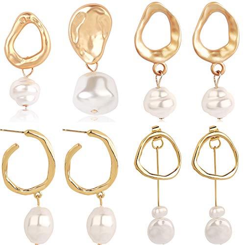 4-Piece Set Of Imitation Pearl Earrings, Long Fashionable Asymmetrical Alloy Earrings