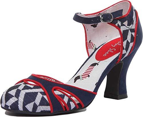 Ruby Shoo Women's Jeraldine Navy Geometric Mid Heel Ankle Strap Pump UK 4 - EU 37 - US 6