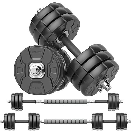 RUNWE Adjustable Dumbbells Barbell Set, Free Weight Set with Steel Connector at Home/Office/Gym Fitness Workout Exercises Training, All-Purpose for Men/Women/Beginner/Pro(66 lbs -2 Dumbbells in Total)