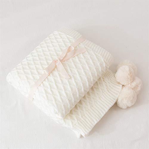 BZRXQR Versátil Crema Blanca Manta del sofá de la Manta del Tiro de Punto Suave Manta de Viaje borlas 130x160cm Inicio Silla Sofá Cama sofá (Color : Cream, Size : 130x160cm)