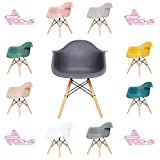 OCHS Retro Eiffel Dining Armchair Plastic Seat with Wood Legs for Office Lounge Dining Kitchen Bedroom (Steel Grey)
