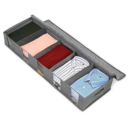 Magicfly - Organizador de Ropa para Debajo de la Cama, para Almacenamiento de Ropa con 5 Secciones y Ventana Transparente, contenedor para Debajo de la Cama para Ropa, Zapatos, Mantas, Gris
