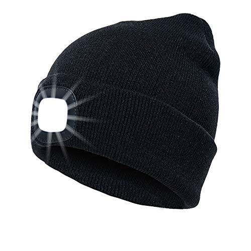 INHDBOX LED Mütze Kappe, Strickmütze mit USB Nachladbare Licht, Beleuchtung 4 LED, einfache Installation Scheinwerfer-Mütze, Unisex-Winterwärmer-Strickkappe