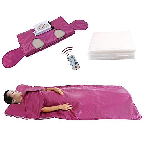 Kacsoo Upgraded Digital Far-Infrared Sauna Blanket, Stretch Out Hand-Reachable Design, Professional Health Fitness Body Shaper, Help Lose Weight, Relieve Fatigue and Pain (Free 50 Bath Bags) (Purple)