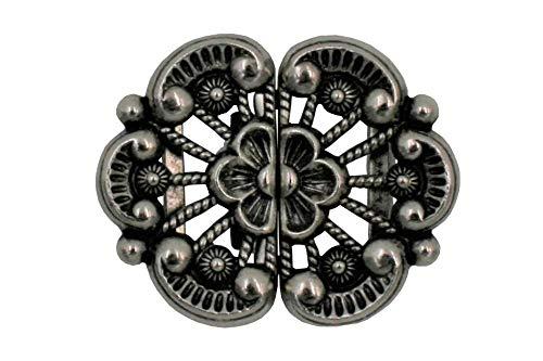 Hartmann-knopen bloesemvormig klein zilver oud zilver klederdracht sluiting bloem schorten dirndl gesp metalen 42 mm x 34 mm, Made in Germany, (1 stuks)