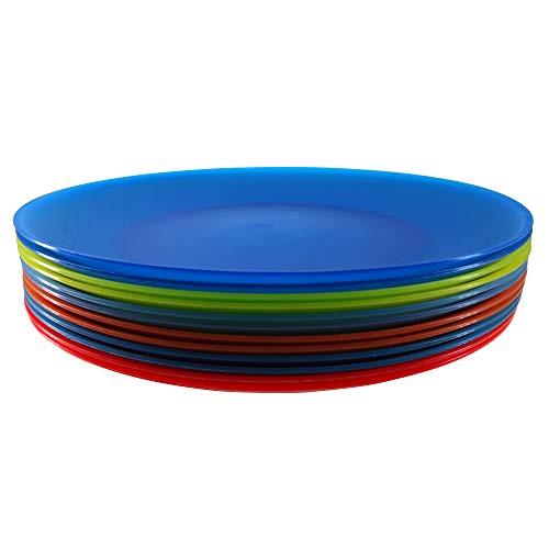 Plastic Dinner Plates Reusable BPA Free Dishwasher Safe Microwave Colorful Set of 12 For Kids Indoor Outdoor Use