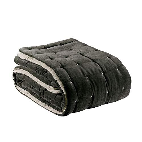 Vivaraise - Édredon Elise – 160x160 cm - Couverture d'appoint, couvre-lit, couette légère – 100% coton doux et chaud – Garnissage moelleux – Couette matelassée réversible, bicolore