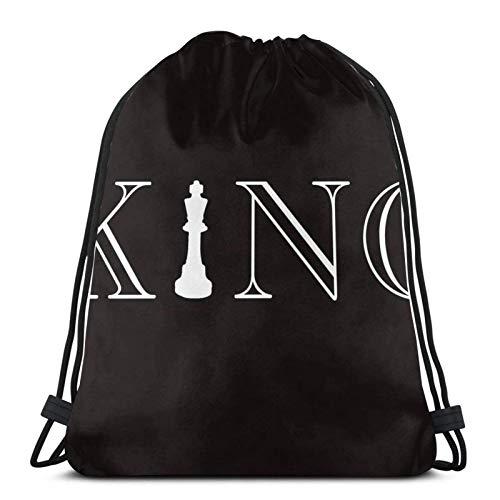 WH-CLA Kordelzug Taschen Schach König Schach Brettspiel Stück Armee Leichtgewichtige Einzigartige Drucke Kordelzug Taschen Cinch Pack Gedruckt Kordelzug Rucksack Langlebige Männer Gym Sac