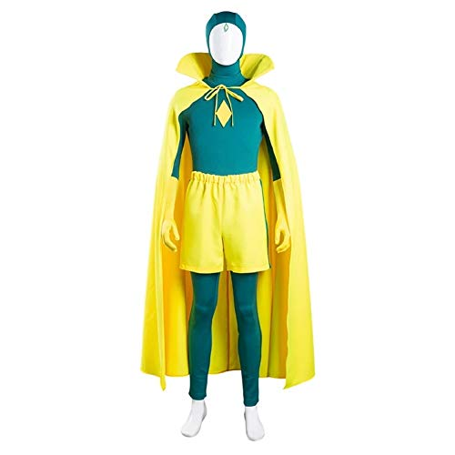 Wanda Maximoff Costume Red Jumpsuits Cloak Suits and Vision Costume Green Bodysuit Halloween Cosplay Costume S