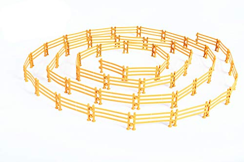 YUCAN 50PCS Toys Fence Horse Corral Fencing Accessories Playset, Mini Plastic Garden Fence Toys Farm Animals Horses Figurines, Fence Panels, Paddock Toys, Cake Toppers for Kids (F Yellow)