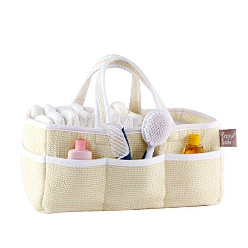 Gingham Seersucker Yellow Baby Storage Nursery Caddy Diaper Organizer, Pet Supplies, Crafts