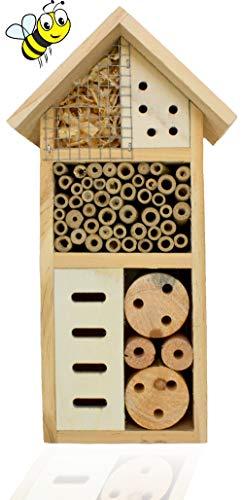 Insektenhaus Bienen Honig Holz Bienenhotel Insekten Nistkasten Naturmaterialien Nistkasten Käfer Wespen Käferzimmer Schutz Nützlinge Schmetterlinge Marienkäfer Fliegen Deko Garten Balkon H=26cm