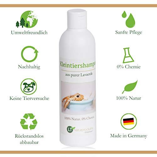 LT-Naturprodukte Kaninchenshampoo | Bio | Chemie- und seifenfrei | hypoallergen | gegen Juckreiz | mit original marokkanischer Lavaerde | 250ml | für Kurz- und Langfell