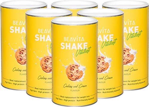 BEAVITA Vitalkost Plus Sostitutivo Pasto Proteico - 6 x 572 gr Bevanda Ipocalorica in Polvere - Shake Dimagranti per Frullato Proteico - Pacchetto Dietetico Professionale 4 Week - Gusto Cookies+Crema