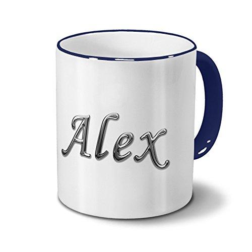 Tasse mit Namen Alex - Motiv Chrom-Schriftzug - Namenstasse, Kaffeebecher, Mug, Becher, Kaffeetasse - Farbe Blau