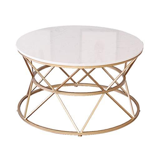 Table Basse Simple, Plateau en marbre Blanc, Structure en Fer métallique, pour hôtel, Salle à Manger, Salon de Meuble, Rond