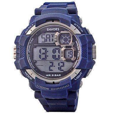 FENKOO Herren Sportuhr Quartz LED/Kalender/Chronograph/Wasserdicht/Alarm PU Band Schwarz/Blau Marke-