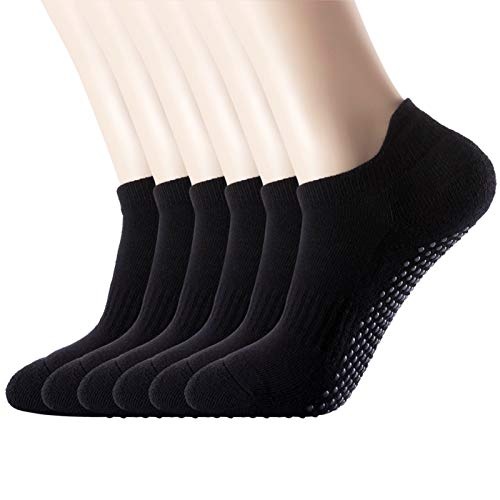 Women's 6-Pack Black Cushioned Anti Slip Grips Piyo Barre Pilate Ballet Low Cut Ankle Yoga Socks