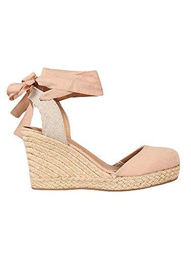 Coutgo Damen Espadrille-Sandalen mit Keilabsatz, mit Riemen, geschlossene Zehenpartie, Knöchelriemen, High Heel Sandalen - rosa - 11 M US