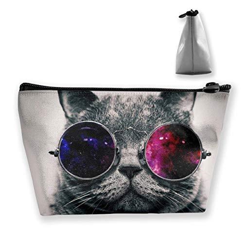 Make-up-Tasche mit Sonnenbrille und Katze, multifunktional, tragbar, mit Reißverschluss