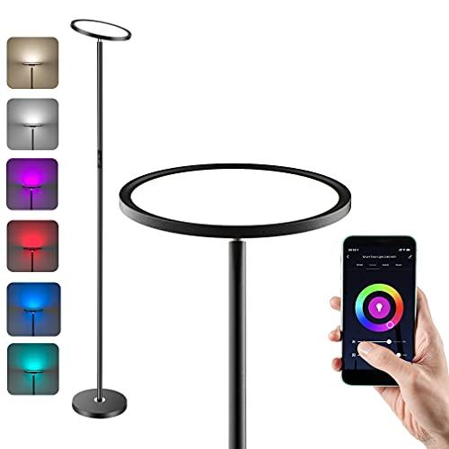 Anten LED da Terra Dimmerabile, Lampada a Stelo RGB, 25W Piantana Lampada, Lampada da Pavimento, Compatibile con Alexa e Google Assistant, con Funzione Tramite Controllo Vocale