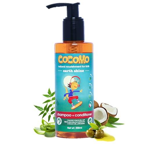 Cocomo Natural Olive & Coconut Oil Kids Shampoo & Conditioner, Citrus Fragrance, Adds Strength & Shine | Earth Shine 200ml (Age: 4+)