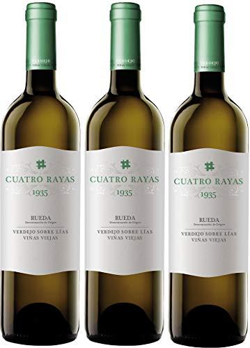 Cuatro Rayas Vino Blanco Verdejo 1935 D.O. Rueda - Pack de 3 Botellas de 750 ml (Total: 2.25 L).