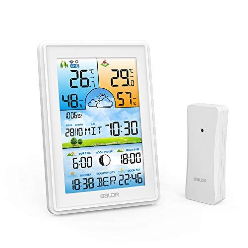 JuguHoovi Wetterstation Funk mit Außensensor,3 Senderkanäle Digital Thermometer Hygrometer Innen Außen Raumthermometer Feuchtigkeit mit Wettervorhersage/Datum/Uhrzeit/Wecker (Weiß)