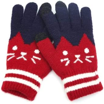 Winter Fashion Touch Screen Gloves Women Girl Cute Cartoon Cat Printed Wool Knitted Full Finger Mittens for Girls Christmas - (Color: red, Gloves Size: one Size)