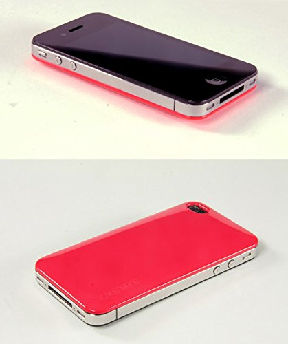 BeFunky Bubble Pack Slim Thin Back Plastic PC Shiny Credit Card Holder Case Cover for Apple iPhone 4/4S (Hot Pink)