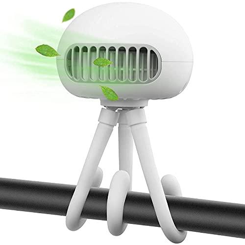 Camping fan,small desk fan, Baby Stroller Fan, 2021 USB Charging Leafless Small Jellyfish Fan, Three-Speed Wind Speed Adjustment and Flexible Tripod