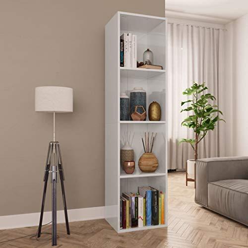 UnfadeMemory Bücherregal Bücherschrank Spanplatte Standregale Pflanzenregal Horizontal Aufgestellt als TV-Schrank TV Lowboard mit 3/4 Fächern (Hochglanz-Weiß, 36 x 30 x 143 cm)
