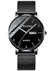 腕時計、メンズ腕時計 ビジネス ファッション シンプル カジュアル 超薄型 軽量 防水 ブラック ローズゴールド 日付表示 アナログ クォーツ時計 ステンレス