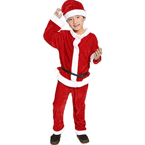 Hirolan Weihnachten Babykleidung Kleinkind Kinder Patchwork Festkleider Baby Jungen Party Kostüm Lange Ärmel T-Shirt + Hose + Hut Santa Claus Outfit Kapuzenpullover Mantel (110, Rot)