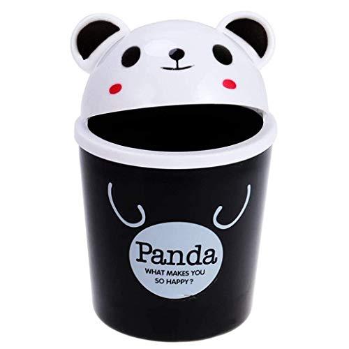 GLP Mini papelera de plástico con tapa, diseño de animales de dibujos animados, cubo de basura pequeño para oficina, 12 x 12 x 19 cm