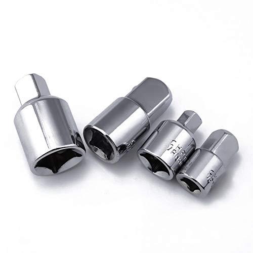 "LANCYG Llave De Vaso, Vaso Hexagonal 4pcs 1/2""1/4"" 3/8""Silver Ratchet Socket Adapter Chrome Vanadium Acero Ratchet Socket Adaptador Reductores Convertidor"