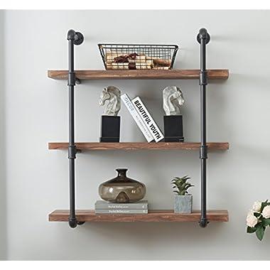O&K Furniture 3-Tier Vintage Industrial Pipe Wall Shelf, Rustic Pipe Bracket for Shelves, Vintage Brown