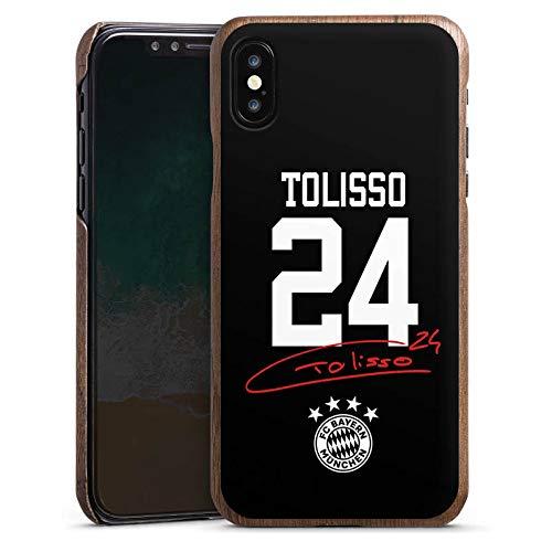 DeinDesign Holz Hülle kompatibel mit Apple iPhone XS Holz Schutzhülle Echtholz Handyhülle Tolisso #24 FC Bayern München Trikot