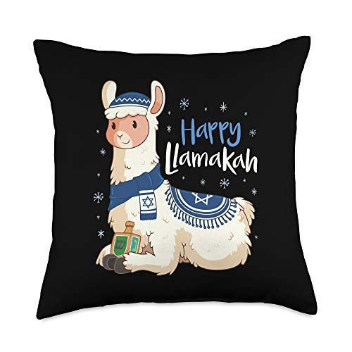 Holiday Hanukkah Gifts Co. Funny Hanukkah Llama Pun Happy Llamakah Gifts Throw Pillow, 18x18, Multicolor