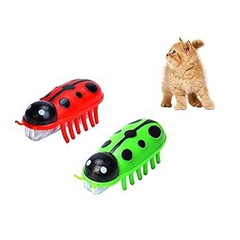 Jouet Chat, 2 mini robots en forme de coccinelle électrique pour chat et souris Jouet Interactif Électrique Balle Chat pour Animaux Chien Chatons